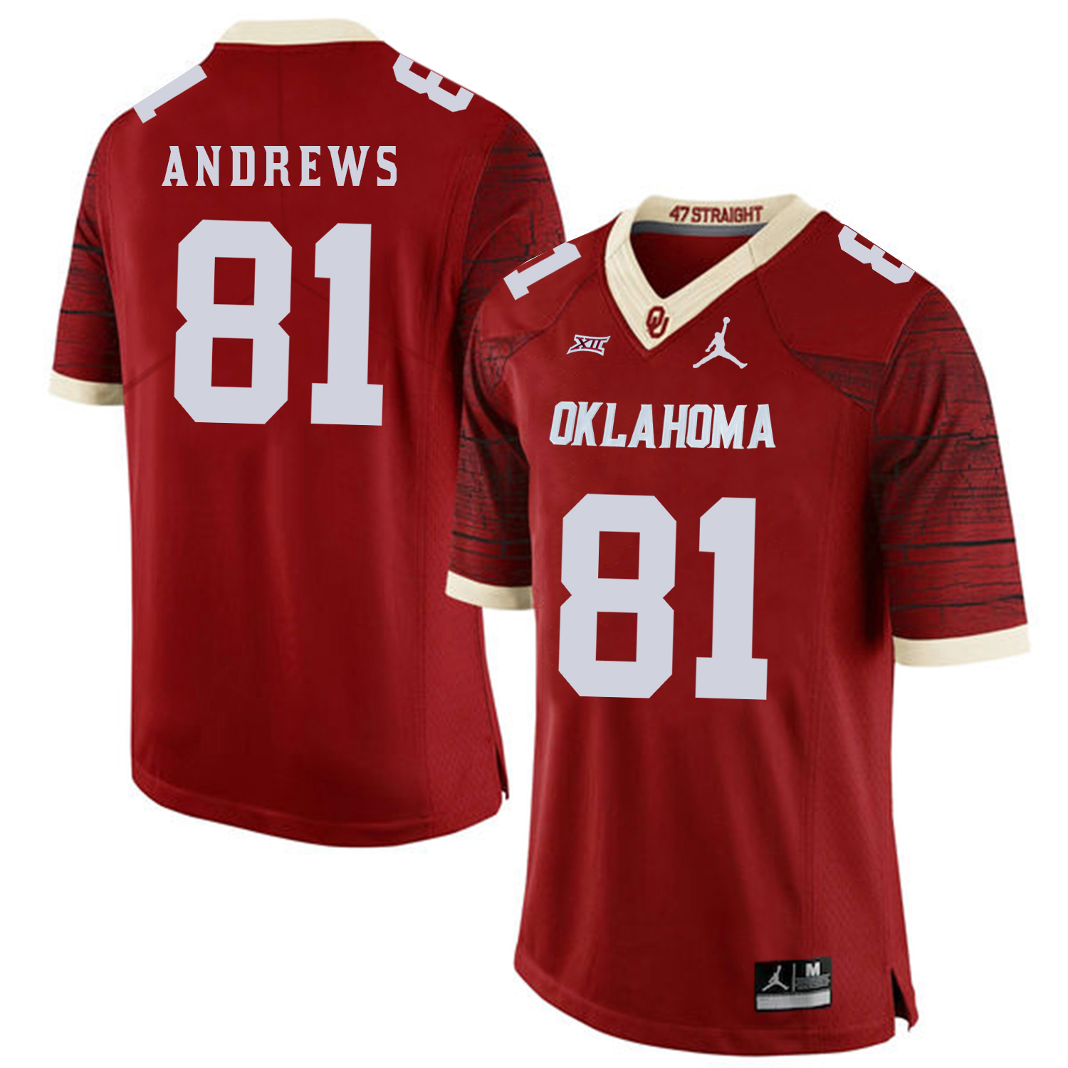 Oklahoma Sooners 81 Mark Andrews Red 47 Game Winning Streak College Football Jersey