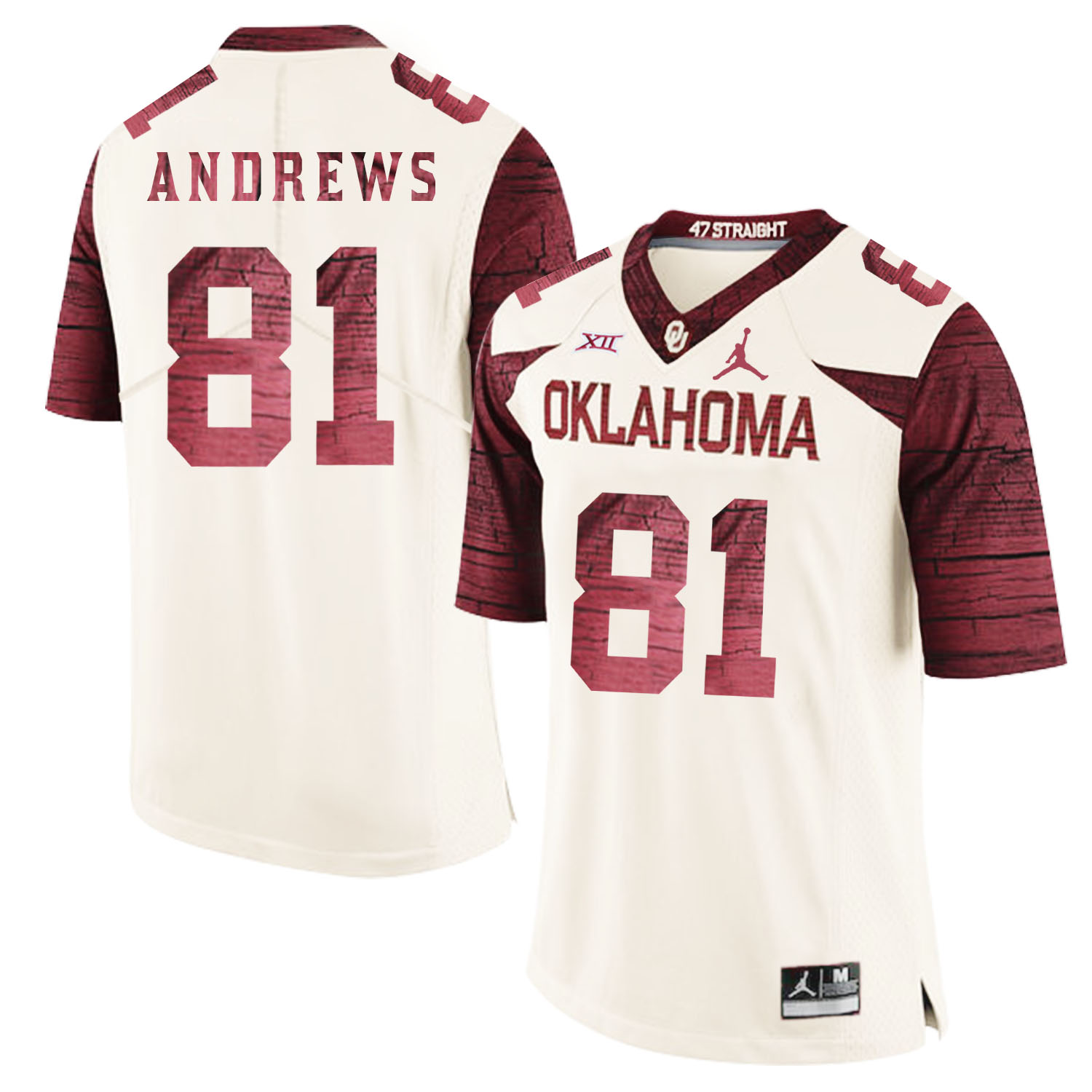 Oklahoma Sooners 81 Mark Andrews White 47 Game Winning Streak College Football Jersey
