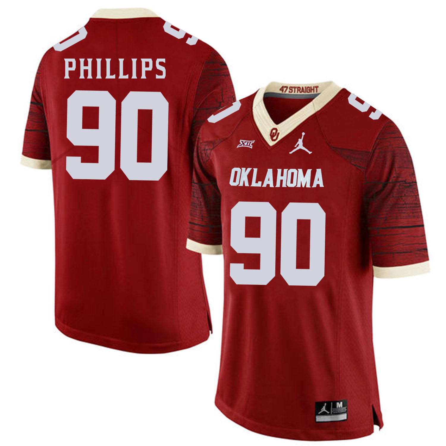 Oklahoma Sooners 90 Jordan Phillips Red 47 Game Winning Streak College Football Jersey