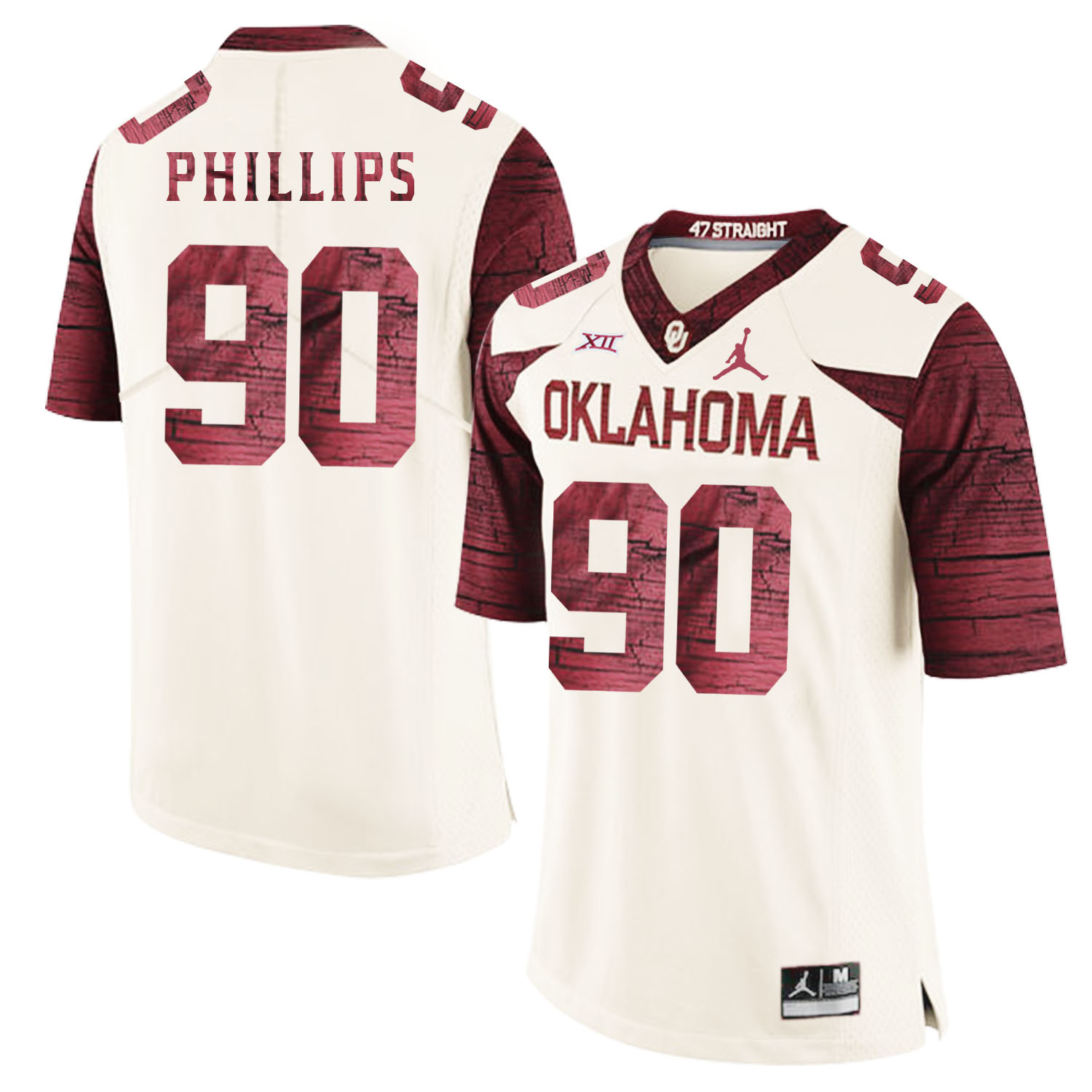Oklahoma Sooners 90 Jordan Phillips White 47 Game Winning Streak College Football Jersey