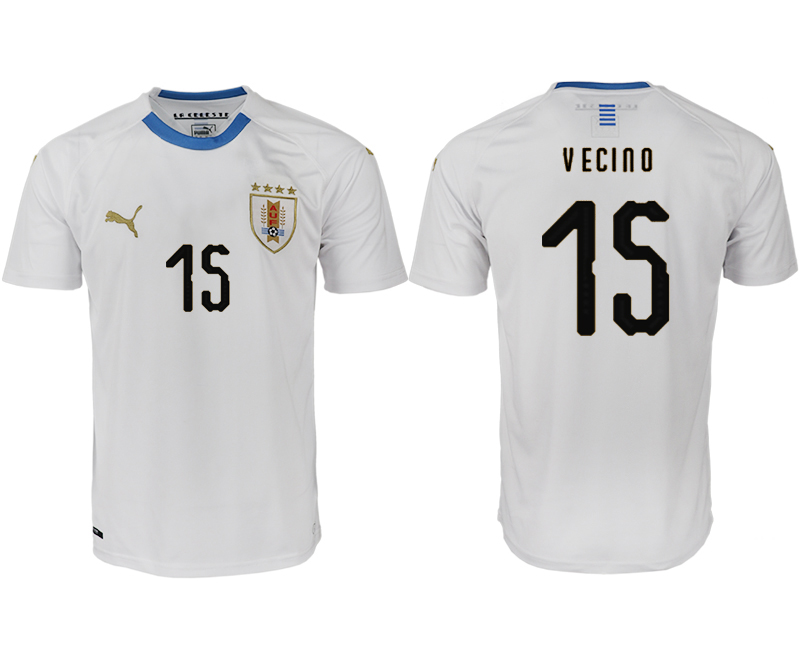 Uruguay 15 VECINO Away 2018 FIFA World Cup Thailand Soccer Jersey