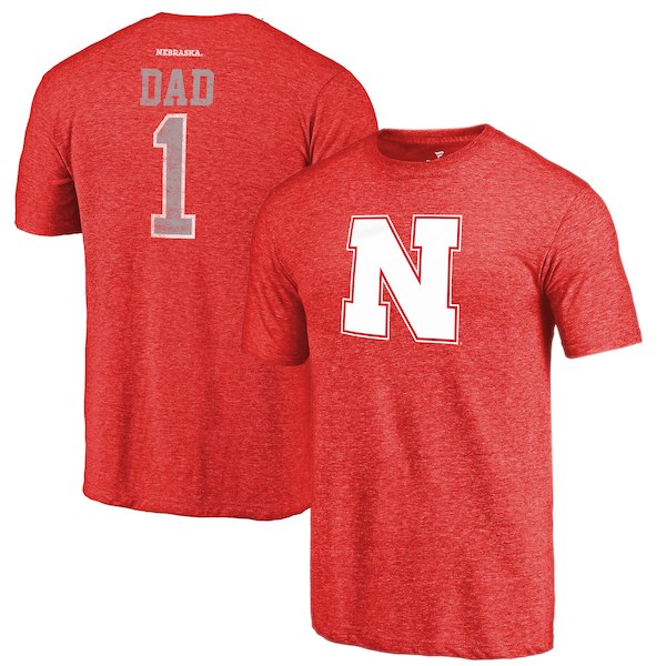 Nebraska Cornhuskers Fanatics Branded Scarlet Greatest Dad Tri-Blend T-Shirt