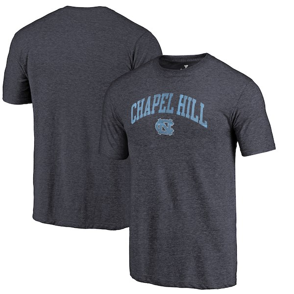 North Carolina Tar Heels Fanatics Branded Heathered Navy Hometown Arched City Tri-Blend T-Shirt