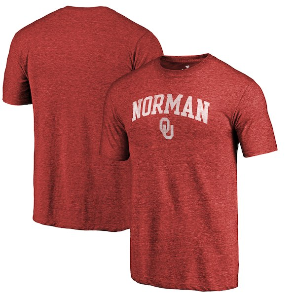 Oklahoma Sooners Fanatics Branded Crimson Hometown Arched City Tri-Blend T-Shirt