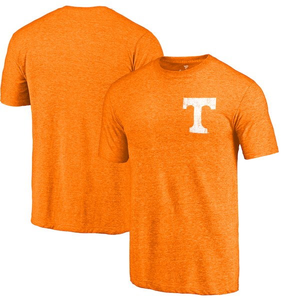 Tennessee Volunteers Fanatics Branded Tenn Orange Heather Left Chest Distressed Logo Tri-Blend T-Shirt