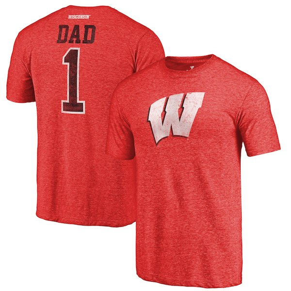 Wisconsin Badgers Fanatics Branded Red Greatest Dad Tri-Blend T-Shirt