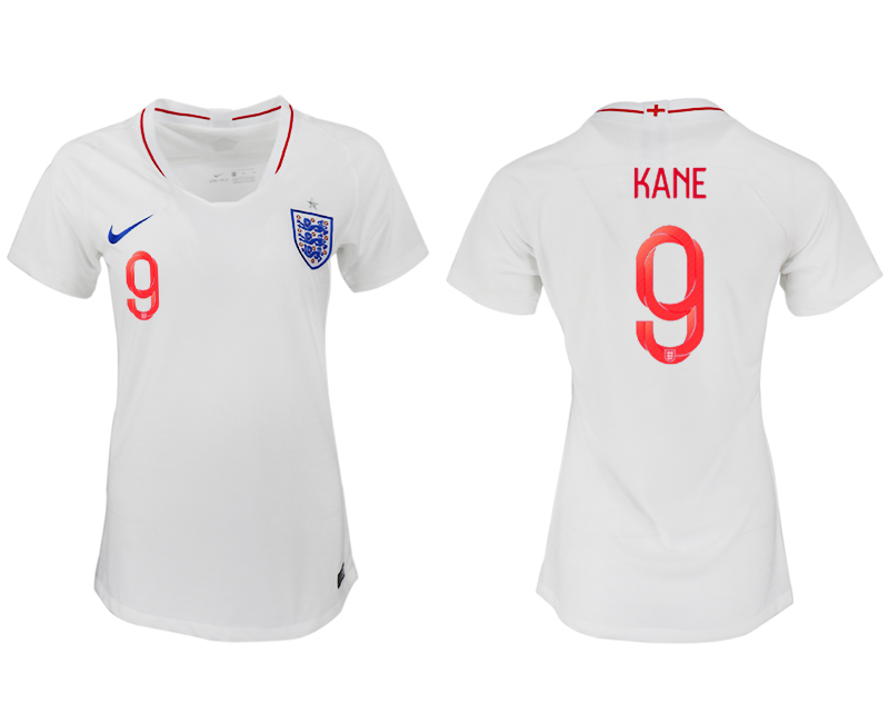 England 9 KANE Home Women 2018 FIFA World Cup Soccer Jersey