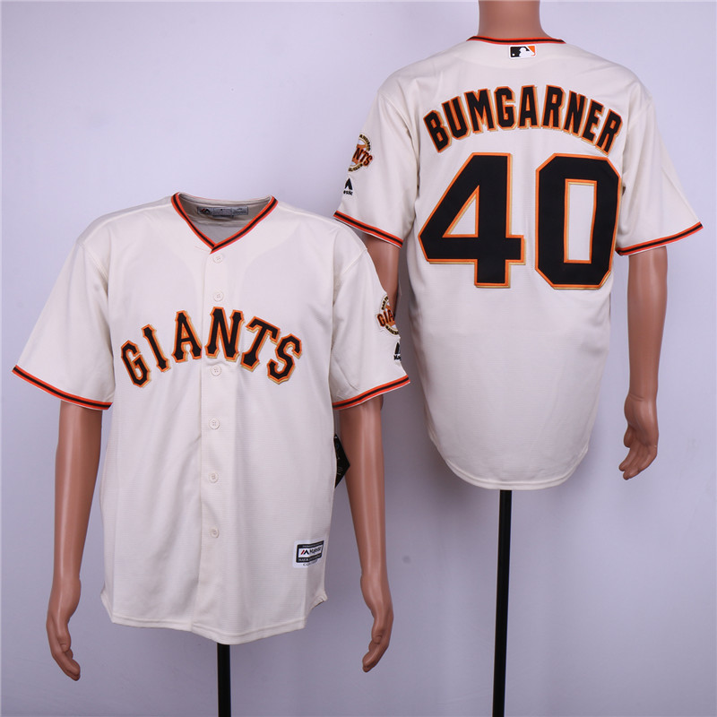 Giants 40 Madison Bumgarner Cream Cool Base Jersey