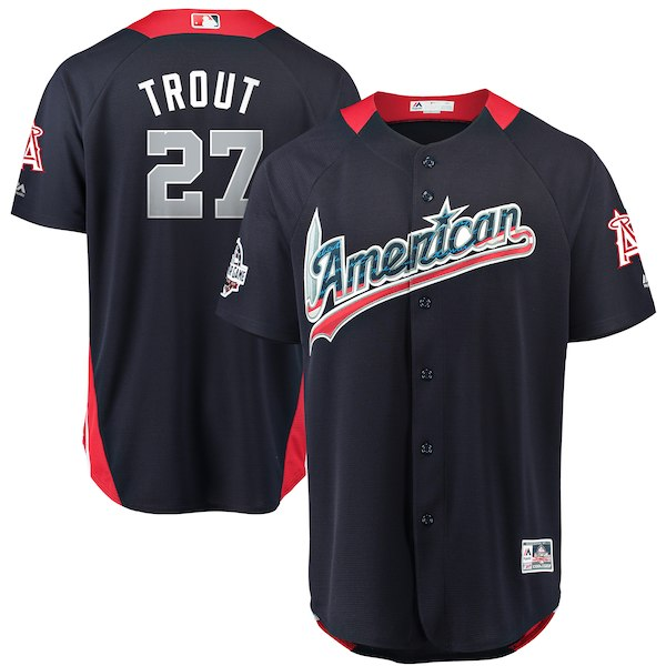 American League 27 Mike Trout Navy 2018 MLB All-Star Game Home Run Derby Jersey
