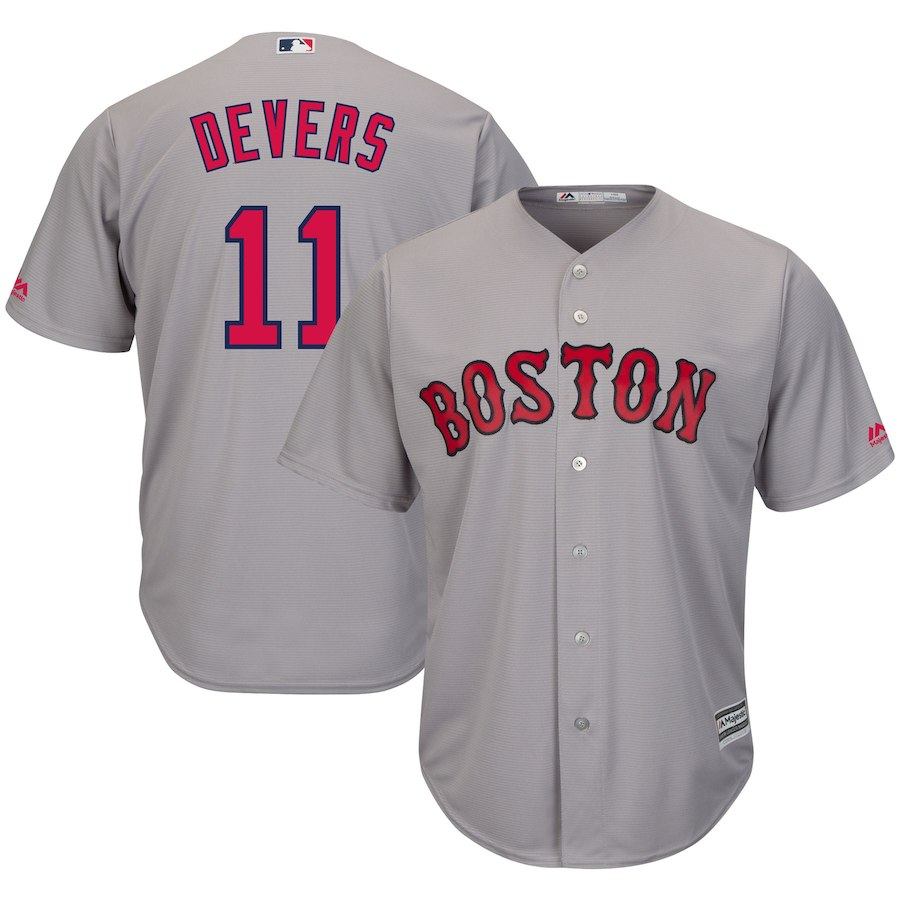 Red Sox 11 Rafael Devers Gray Cool Base Jersey