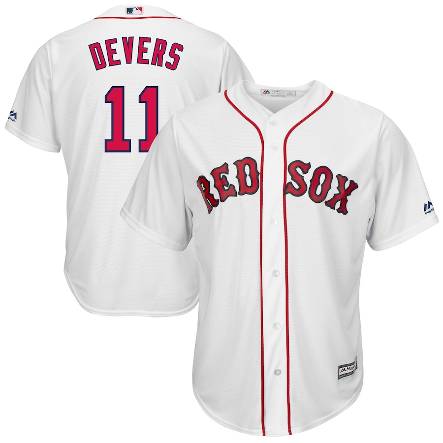 Red Sox 11 Rafael Devers White Cool Base Jersey