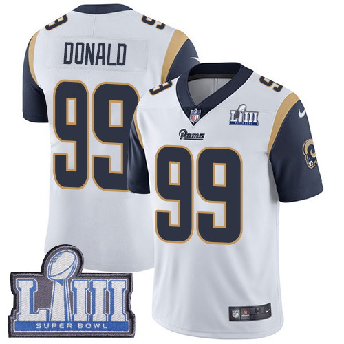 Nike Rams 99 Aaron Donald White 2019 Super Bowl LIII Vapor Untouchable Limited Jersey