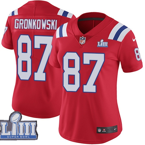 Nike Patriots 87 Rob Gronkowski Red Women 2019 Super Bowl LIII Vapor Untouchable Limited Jersey