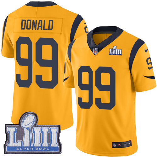 Nike Rams 99 Aaron Donald Gold Youth 2019 Super Bowl LIII Color Rush Limited Jersey