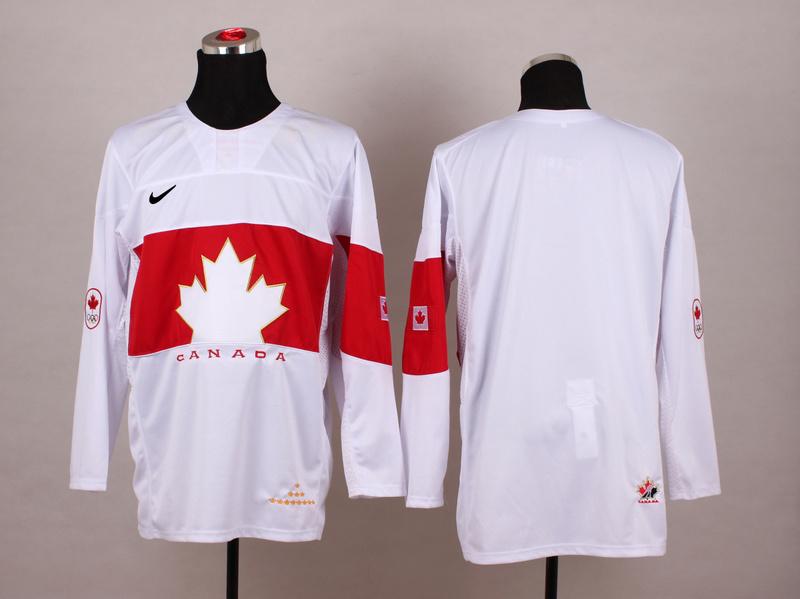 Canada Blank White 2014 Olympics Jerseys