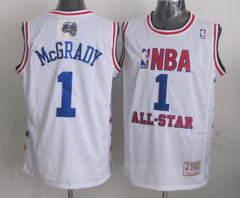 2003 All Star 1 McGrady White Hardwwod Classics Jerseys