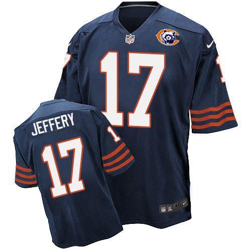 Nike Bears 17 Alshon Jeffery Blue Throwback Elite Jersey