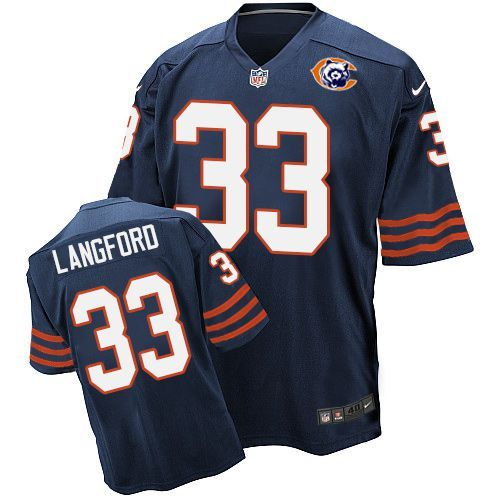 Nike Bears 33 Jeremy Langford Blue Throwback Elite Jersey