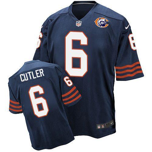 Nike Bears 6 Jay Cutler Blue Throwback Elite Jersey