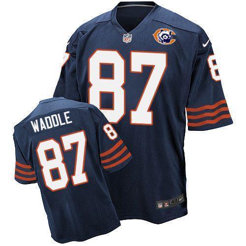 Nike Bears 87 Tom Waddle Blue Throwback Elite Jersey