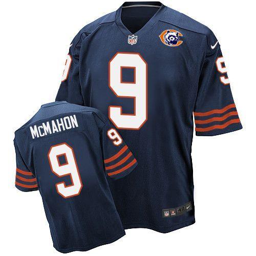 Nike Bears 9 Jim McMahon Blue Throwback Elite Jersey