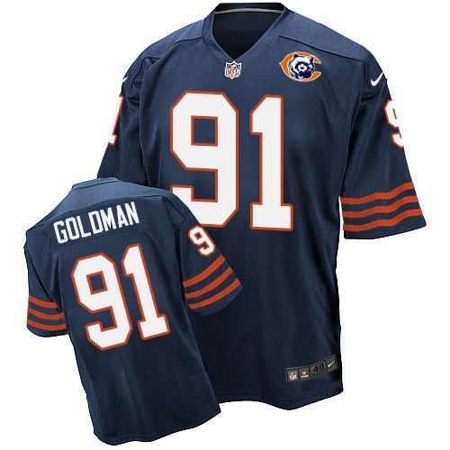 Nike Bears 91 Eddie Goldman Blue Throwback Elite Jersey