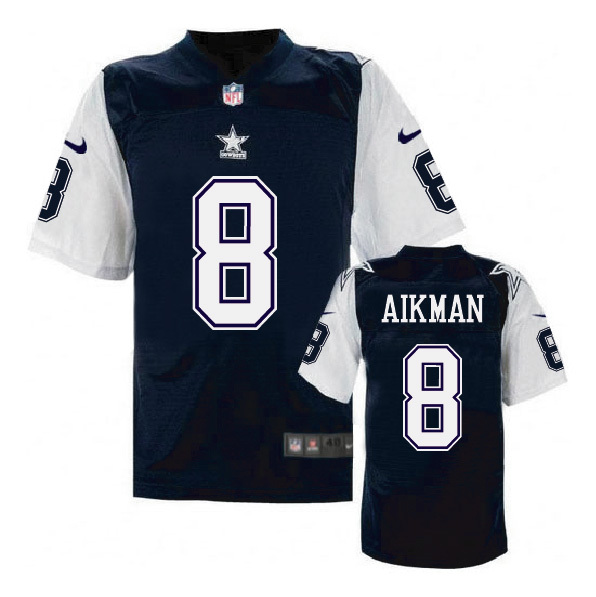 Nike Cowboys 8 Troy Aikman Blue Throwback Elite Jersey