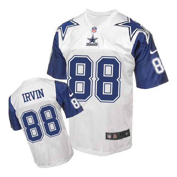 Nike Cowboys 88 Michael Irvin White Throwback Elite Jersey