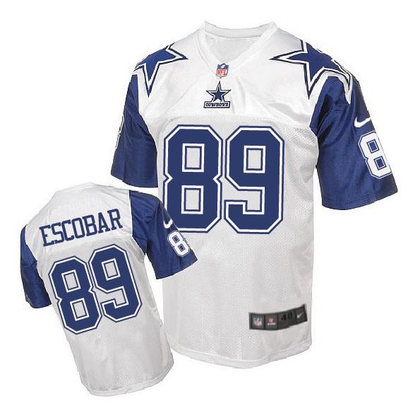 Nike Cowboys 89 Gavin Escobar White Throwback Elite Jersey