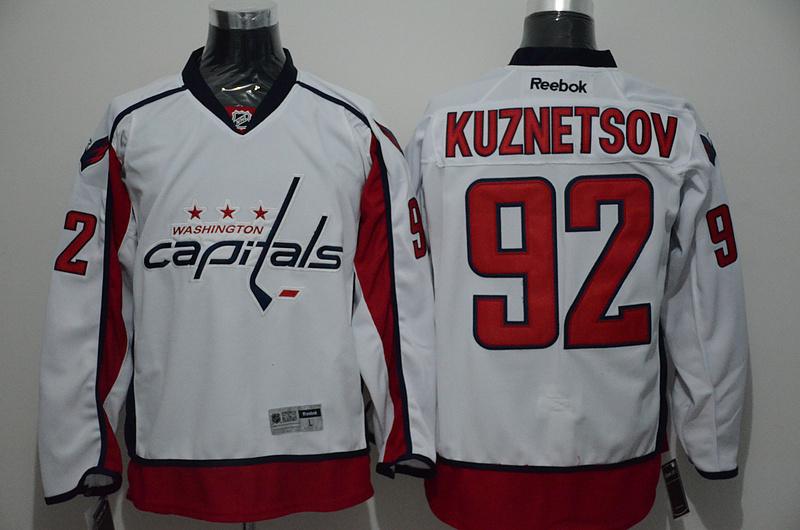Capitals 92 Evgeny Kuznetsov White Reebok Jersey