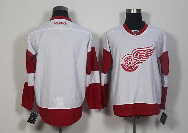 Red Wings Blank White Reebok Jersey