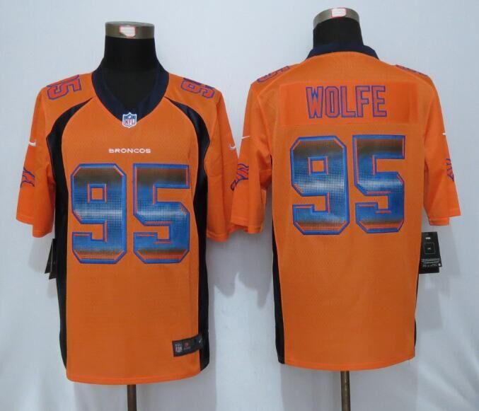 Nike Broncos 95 Derek Wolfe Orange Pro Line Fashion Strobe Jersey