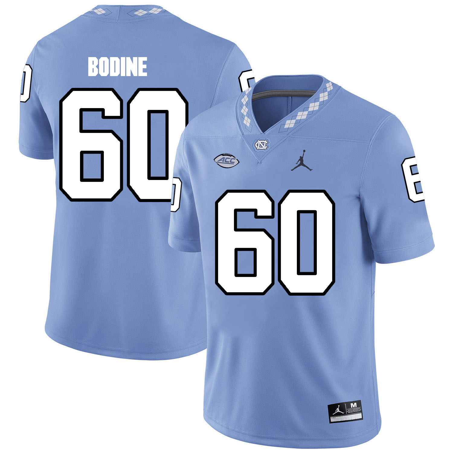 North Carolina Tar Heels 60 Russell Bodine Blue College Football Jersey