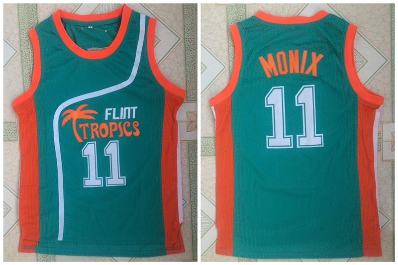 Flint Tropics 11 Ed Monix Green Semi Pro Movie Stitched Basketball Jersey