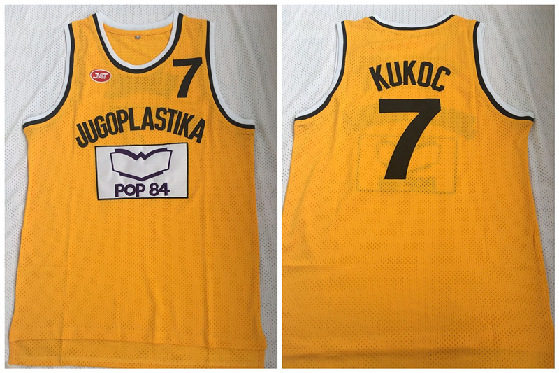 Jugoplastika Yugoslavia Croatia 7 Toni Kukoc Yellow Movie Stitched Basketball Jersey