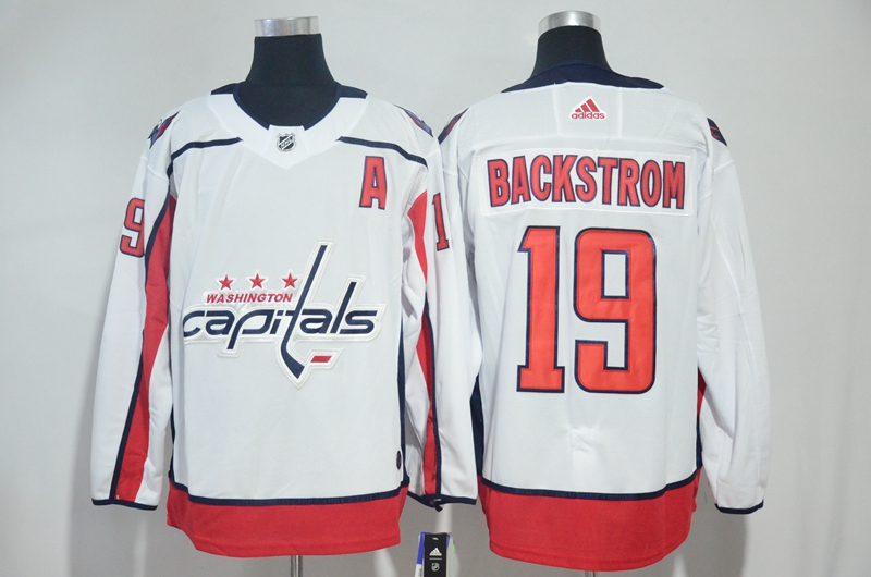 Capitals 19 Nicklas Backstrom White Adidas Jersey