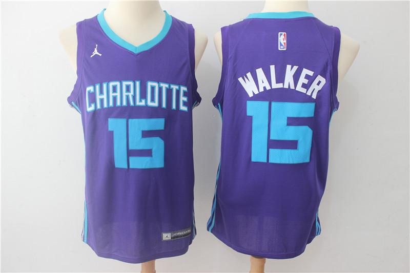 Hornets 15 Kemba Walker Purple Nike Swingman Jersey