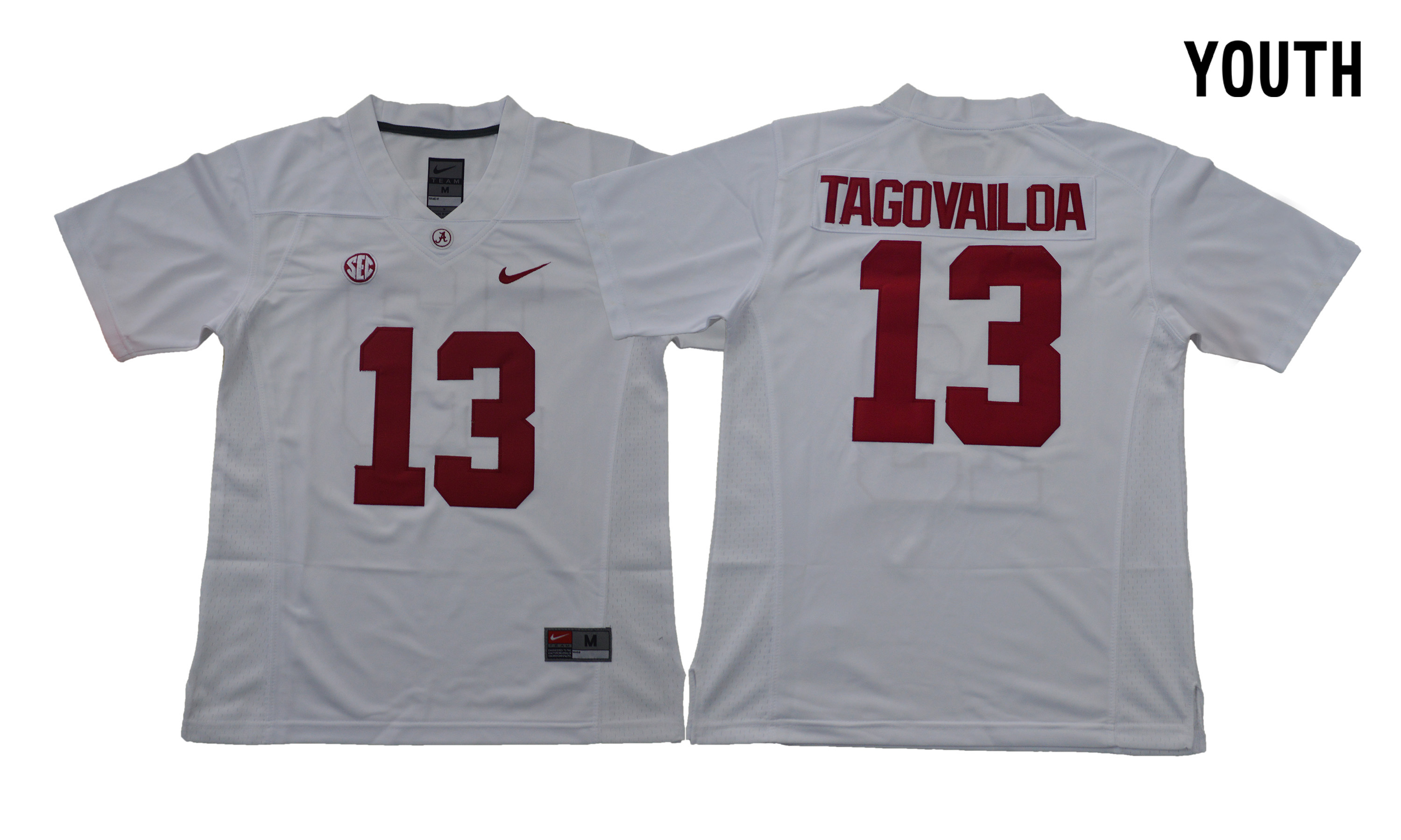 Alabama Crimson Tide 13 Tua Tagovailoa White Youth With Diamond Logo College Football Jersey