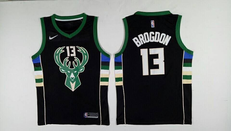 Bucks 13 Malcolm Brogdon Black Nike Swingman Jersey