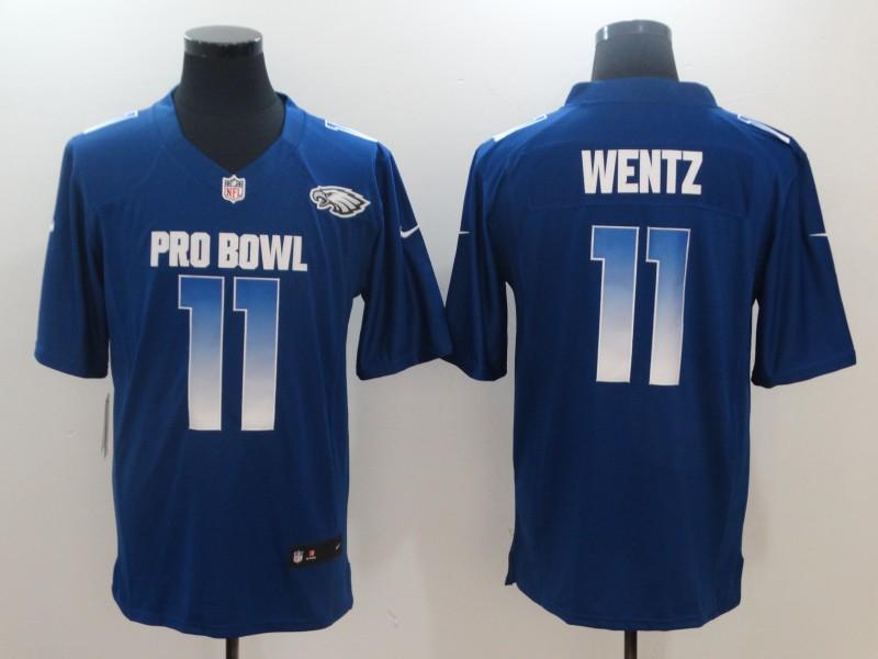 Nike NFC Eagles 11 Carson Wentz Royal 2018 Pro Bowl Game Jersey
