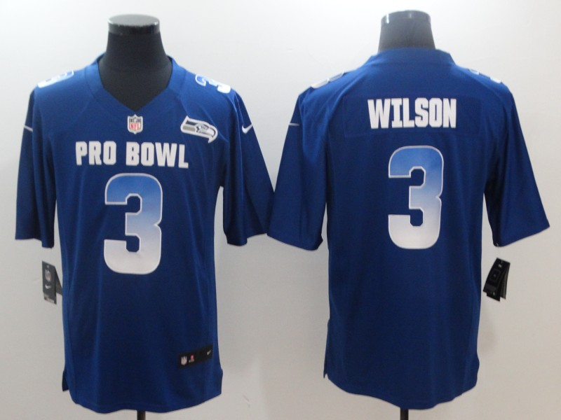 Nike NFC Seahawks 3 Russell Wilson Royal 2018 Pro Bowl Game Jersey