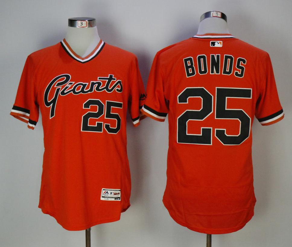 Giants 25 Barry Bonds Orange 1978 Turn Back The Clock Cool Base Jersey