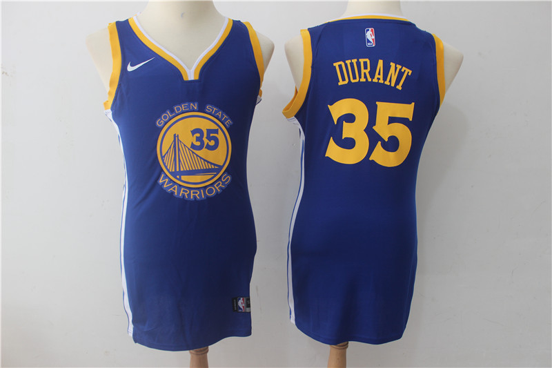 Warriors 35 Kevin Durant Blue Women Nike Swingman Jersey