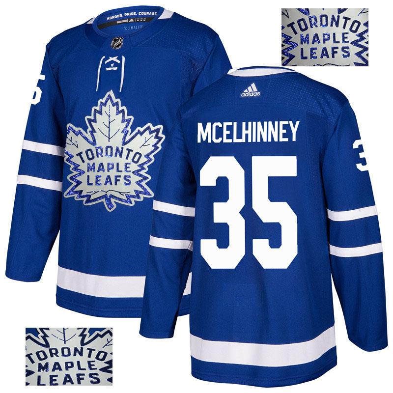Maple Leafs 35 Curtis McElhinney Blue Glittery Edition Adidas Jersey