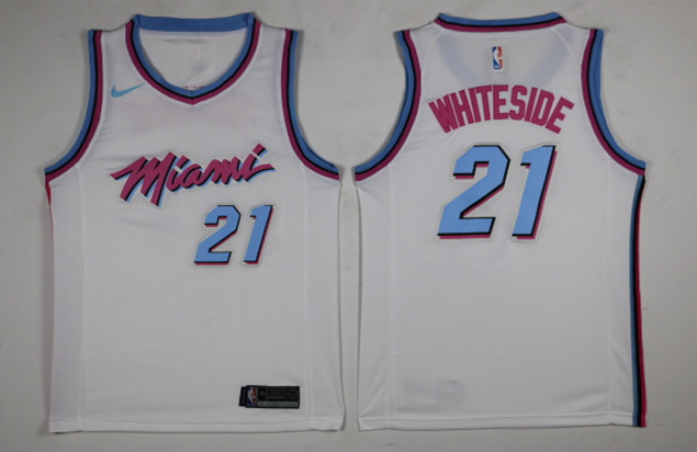 Heat 21 Hassan Whiteside White City Edition Nike Swingman Jersey