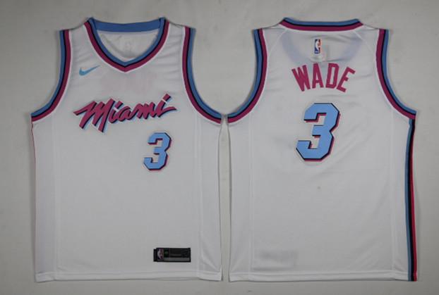 Heat 3 Dwyane Wade White City Edition Nike Swingman Jersey
