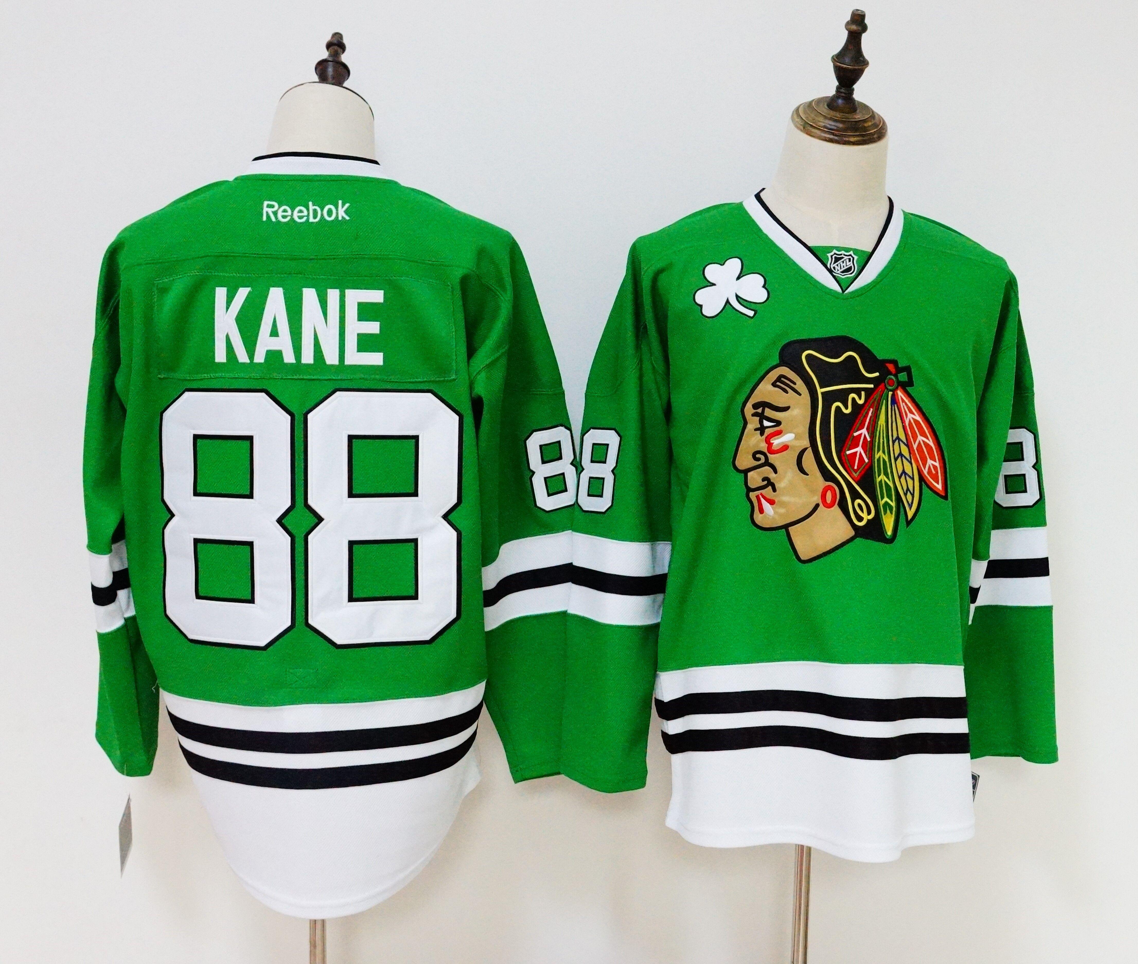 Blackhawks 88 Patrick Kane Green Reebok Jersey