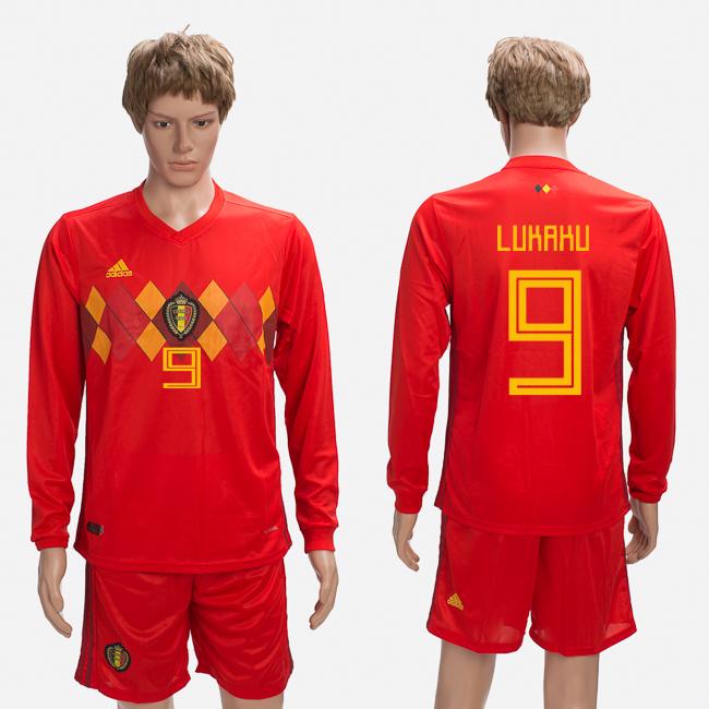 Belgium 9 LUKAKU Home 2018 FIFA World Cup Long Sleeve Soccer Jersey