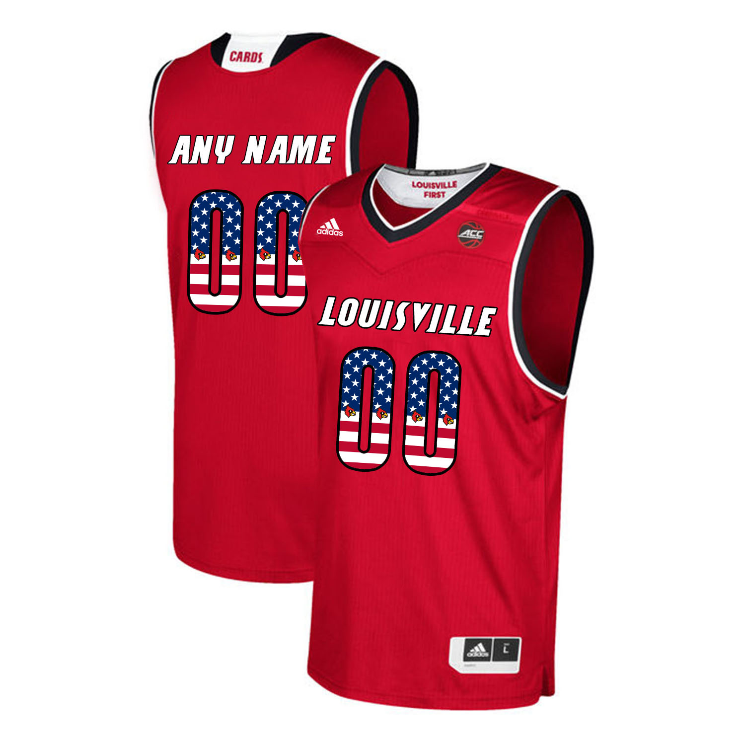 Louisville Cardinals Customized Red USA Flag College Basketball Jersey