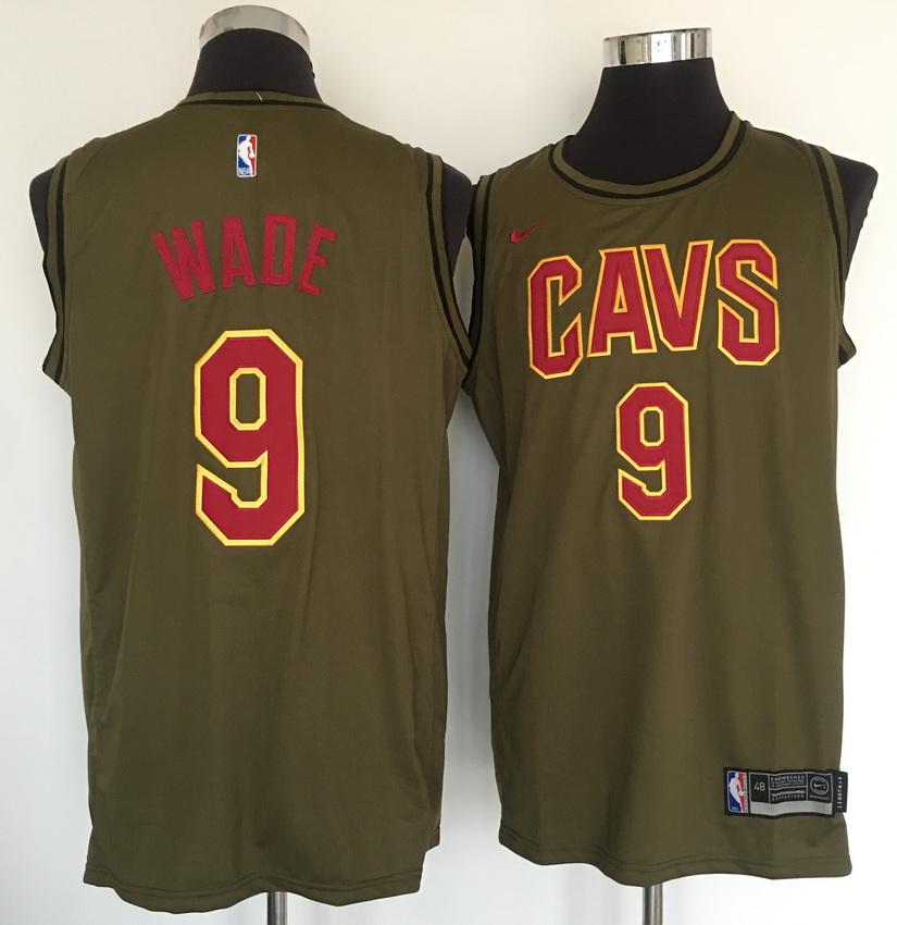 Cavaliers 9 Dwayne Wade Olive Nike Swingman Jersey